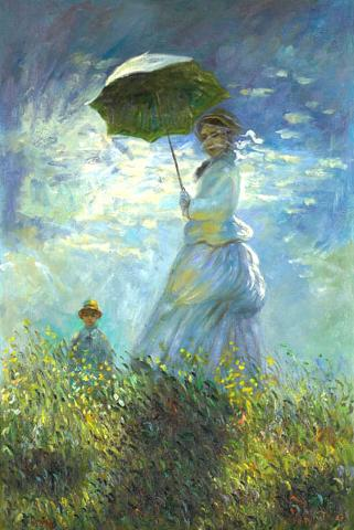 Walk with Umbrella or Mrs Monet with her Son